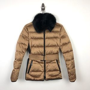Burberry | Gold Satin Down Puffer Rabbit Fur Trim